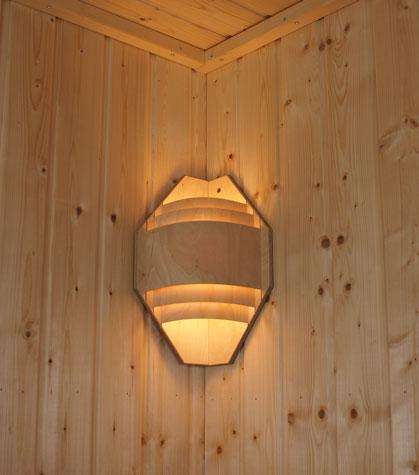 kleiner sauna eck lampenschirm saunaleuchte. Black Bedroom Furniture Sets. Home Design Ideas