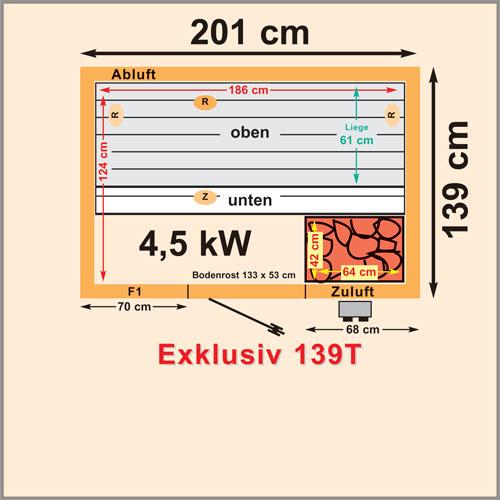 schmale saunaanlage mit saunaheizger t sauna 200 x 139 cm. Black Bedroom Furniture Sets. Home Design Ideas