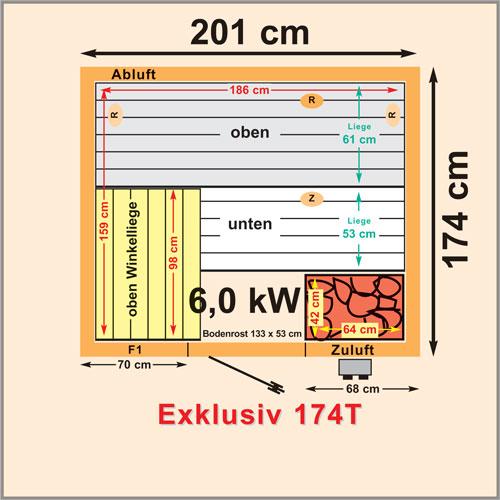 new sauna aus elementen abmessungen 200 x 174 cm. Black Bedroom Furniture Sets. Home Design Ideas