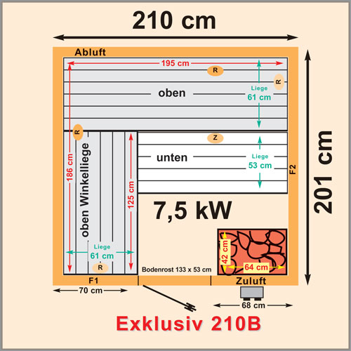 elementsauna saunakabine heimsauna trend exklusiv 210 x. Black Bedroom Furniture Sets. Home Design Ideas