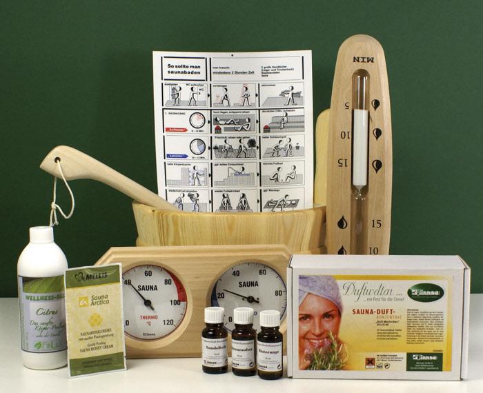 sauna set luxus mit aufgussk bel aufgusskelle saunaduftstoff klimamesser 82530. Black Bedroom Furniture Sets. Home Design Ideas