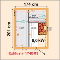 sauna elementkabine fichtenholz trend exklusiv 175 x 200 cm typ 174br3. Black Bedroom Furniture Sets. Home Design Ideas